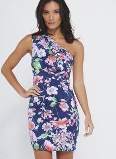 Floral One Shoulder Fitted Dress,  Dress, one shoulder  flower print, Chic