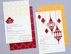 Maroon and Yellow invitations (Indian, South Asian, wedding stationery)