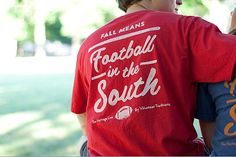 Red with White Fall Means Football in the South Pocket Tees - Heritage Line by Volunteer Traditions