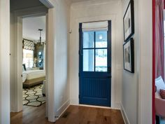 Nany blue front door Foyer Pictures From HGTV Smart Home 2014 Neutral Wall Colors, Paint Colors, Hgtv Dream Homes, Black Interior Doors, Small Hallways, Painted Front Doors, Front Door Colors, Smart Home, Colorful Interiors