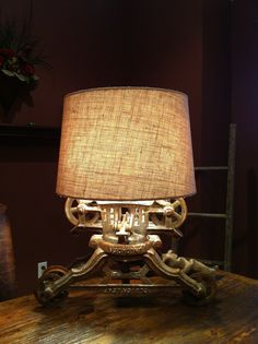 Lamp I made from old hay trolley