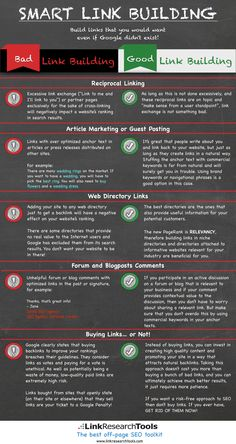 INFOGRAPHIC - Bad link building vs. Good link building. Only get the kind of links that will not hurt your rankings.