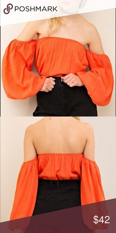 Off Shoulder Top NWT Solid crinkled off shoulder top with puffed sleeves and elasticized neckline. Bright orange. Brand new with tags!                       •n o  t r a d e s• •s m o k e  f r e e / p e t  f r e e  h o m e•   •s a m e / n e x t  d a y  s h i p p i n g• Tops