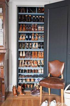 """I turned a closet in my Manhattan living room into a shoe cupboard. The shelves are perfectly scaled for wedges, sneakers, heels, and boots, and the blue interior hides scuff marks and complements the shoes. I almost always leave the door open!"" —Michelle Smith, Interior Designer"