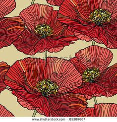 Elegance Seamless pattern with poppy flowers, vector floral illustration in vintage style by POLINA 21, via ShutterStock