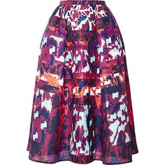 Peter Pilotto Emma Printed Cloqué A-Line Skirt (€415) ❤ liked on Polyvore featuring skirts, peter pilotto, midi skirt, saias, water orchid, a line midi skirt, mid calf skirts, peter pilotto skirt, purple midi skirt and summer skirts