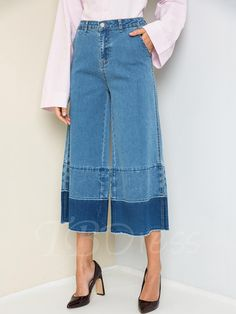 On trend cropped denim trouser in mid denim, with layered, frayed bottom hem. These denim jeans are made with high quality cotton fabric with great stretch. Diva Fashion, Fashion Outfits, Women's Straight Jeans, Culotte Pants, Clothing Hacks, Denim Outfit, Jean Outfits, Jeans Pants, Denim Skirt