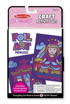 On-the-Go Crafts - Foil Art Princesses: This activity set lets children make princess scenes that truly sparkle! Beautiful shimmering foil-leaf artwork is easier to create than you'd think with this peel-and-stick craft. Simply pick a scene, peel away a die-cut section of paper, and press the foil sheet over the sticky surface. When the sheet is lifted away, the shining foil remains just where you want it! The amazing results and creative possibilities appeal to all ages.