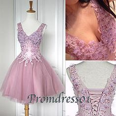 #promdress01 prom dresses - cute V-neck purple organza short prom dress for teens,ball gown, homecoming dresses #coniefox #2016prom