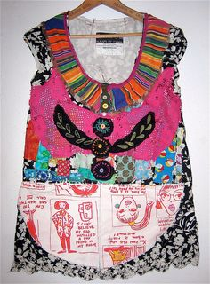 Altered Fabric Wearable ART TUNIC Collage by mybonny on Etsy, $79.00