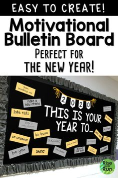 Motivational classroom decor for the new year! Easy to print, cut, and hang. This bulletin board encourages students to set goals and take on the new year! motivation New Years Bulletin Board Motivational Bulletin Boards, Easy Bulletin Boards, Winter Bulletin Boards, Back To School Bulletin Boards, Classroom Bulletin Boards, Classroom Decor, Motivational Phrases, Preschool Bulletin, January Bulletin Board Ideas