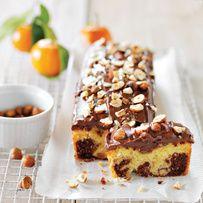 Cake marbré clémentine, chocolat, noisettes