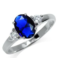 3-Stone Sapphire Blue & White CZ 925 Sterling Silver Engagement Ring Silvershake. $17.99