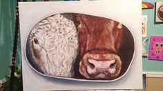 Bright and colorful animal art by Danny a self taught Canadian artist in Nova Scotia, specializing in animal art and custom pet portraits. Cow Art, Colorful Animals, Canadian Artists, Animal Rights, Cows, Pet Portraits, Acrylics, Ontario, Truck