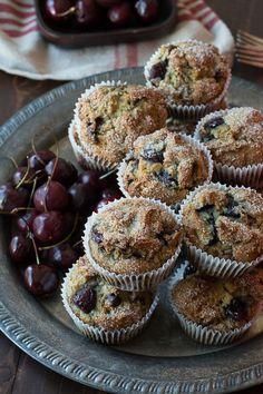 Cherry Chocolate Chip Muffins - full of fresh cherries and chocolate chips!
