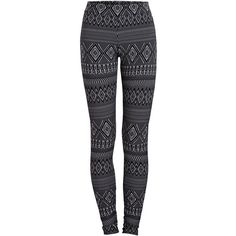 PIECES Printed Leggings ($21) ❤ liked on Polyvore featuring pants, leggings, bottoms, jeans, pantalon, black, aztec leggings, aztec print leggings, legging pants and aztec pattern leggings