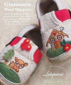The perfect present for the holidays. Giesswein slippers will keep your baby's feet nice and warm on any floor surface. www.lalapatoot.com