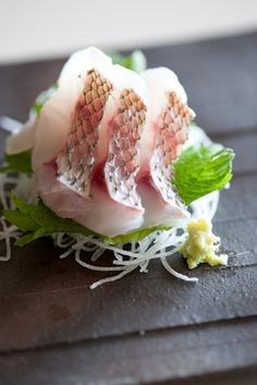 Tai Red Snapper Sashimi with Wasabi, Julienned Daikon Radish and Shiso Perilla Leaf|鯛の刺身