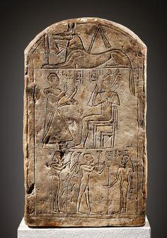 A Funerary Stele of ChaJ-amun      H. 47 cm. Limestone.Egypt, Late New Kingdom, Ramesside, 20th Dynasty, 12th cent. B.C.