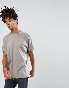 ASOS DESIGN oversized t-shirt with stepped hem and deep rib cuffs in beige