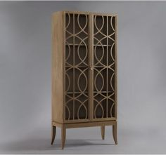 Storage Furniture - Gate Armoire - Belgian Grey | DwellStudio - modern armoire, modern armoire with wood overlaid glass doors, geometric wood overlaid glass front armoire,