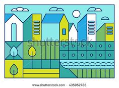 Vector illustration with city landscape in trendy linear style - abstract modern…