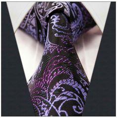 Black / Purple Paisley Necktie