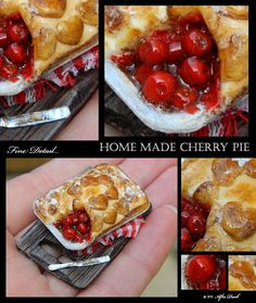 Luxury Home made Cherry Pie - Artisan fully Handmade Miniature in 12th scale. From After Dark miniatures.. $84.99, via Etsy.