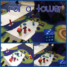 Roll the dice and build the tower. Eyfs maths counting and number recognition game.