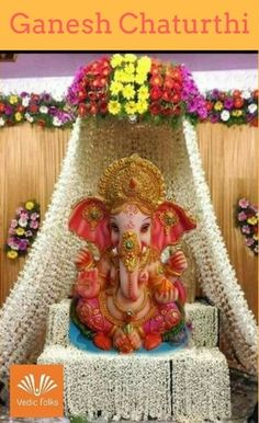 Make this Ganesha Chathurthi 2020 special with rituals and ceremonies. Lord Ganesha is a powerful god that removes Hurdles, grants Wealth, Knowledge & Wisdom. Mandir Decoration, Thali Decoration Ideas, Ganapati Decoration, Diwali Decorations, Festival Decorations, Flower Decorations, Kalash Decoration, Wedding Decorations, Decor Ideas
