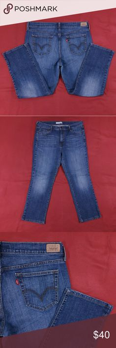 """Blue Jeans ~ 27"""" Inseam Excellent Condition! No flaws. Size 16.  Measurements lying flat: Waist ? 17.5"""", Hips ? 21"""", Inseam - 27"""", Front Rise ? 11"""", Back Rise ? 16"""".  Please, review pictures. You will get the item shown. Smoke & pet free home. Levi's Jeans Straight Leg"""