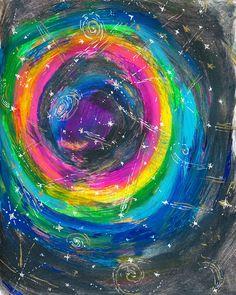 Rainbow Galaxy Print | Colorful Universe Print | Galaxy Art Print | Astronomy Art Print | Starry Skies Print | Black Hole Art Print by DaydreamerAlley on Etsy