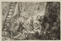 Rembrandt Harmenszoon van Rijn, The Circumcision in the Stable, Etching printed on paper. Rembrandt Etchings, Rembrandt Drawings, Harvard Art Museum, Dutch Golden Age, Hieronymus Bosch, Web Gallery, Bnf, Art Database, Old Master