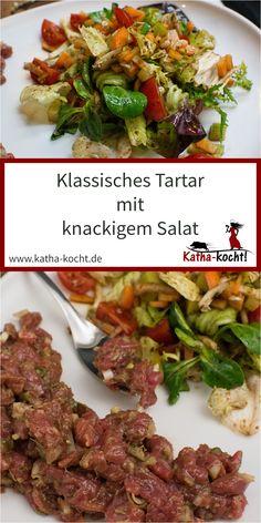 In diesem Rezept für ein klassisches und würziges Tartar gesellt sich zu dem feinen Rinderfilet auch noch ein knackig frischer Salat mit auf den Teller. So kann man es sowohl als Vorspeise als auch als Hauptgericht servieren. Das Rezept findest du hier auf katha-kocht! Teller, Germany, Beef, Snacks, Food, Filet Of Beef, Tapas Food, Appetizers, Meal