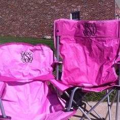 Pink monogrammed chairs