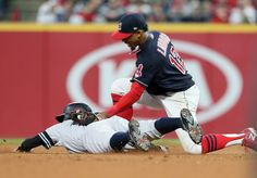 Indians 9, Yankees 8: Winners and losers from ALDS Game 2   -  October 6, 2017.  Cleveland Indians' SS Francisco Lindor (12) tags out New York Yankees' Ronald Torreyes (74) at second base on a pick off throw from Indians catcher Yan Gomes (7) in the top of the 11th inning, Friday, October 6, 2017. (Chuck Crow / The Plain Dealer)
