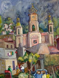 Puerto Vallarta, Zocalo, Mexico, art by Dwight Strong – California Watercolor