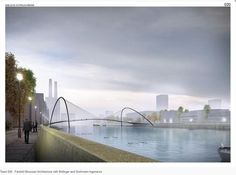 Waterfalls, rainbow-coloured latticework and bright red cycle lanes feature among proposals for a new pedestrian bridge across London's River Thames Post Modern Architecture, Amazing Architecture, Rio Tamesis, Battersea Power Station, Bridge Design, Pedestrian Bridge, London Bridge, River Thames, Garden Bridge