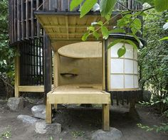 Inspired by the Japanese tea ceremony, Architects designed a gorgeous Tea House in the Garden, round minimal space to gather with friends located in Prague. Japanese Buildings, Japanese Architecture, Pavilion Architecture, Sustainable Architecture, Sustainable Design, Residential Architecture, Contemporary Architecture, Larch Cladding, Japanese Tea House