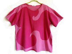 MARIMEKKO T- Shirt Pink T Shirt Cotton Clothing Summer Clothing L Size Women's Shirt Marimekko Shirt Organic Women's Clothing…