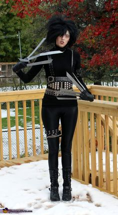 Erin: I love Tim Burton movies so I decided to be Edward Scissorhands for Halloween. I made the costume using a variety of belts, leather leggings and a black turtleneck. I...