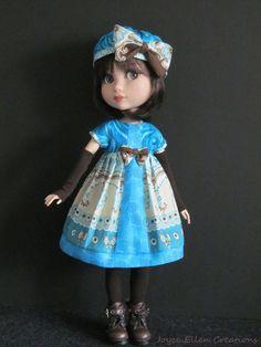 "Patience Tonner 14"" BJD fashion teal & brown print Dress set OOAK by JEC #ClothingAccessories"