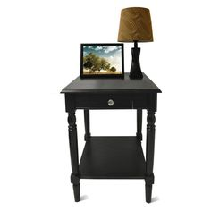 Convenience Concepts French Country Square Black Wood End Table with Drawer and Shelf - 6042185BL