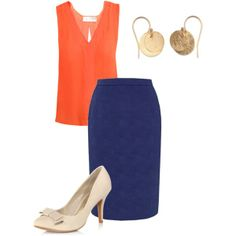 pencil skirts for work | Orange shirt & blue pencil skirt | Work Clothes
