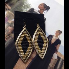 Bohemian Style Earrings These gorgeous goldtone and black earrings feature tiny beads intricately set in the design. Measures 2.2 inches long. (This closet does not trade or use PayPal ) Jewelry Earrings