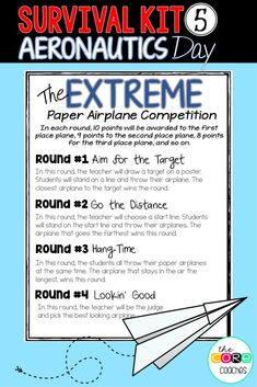 Day 5: Aeronautics Day- End of School countdown lessons and activities on flight