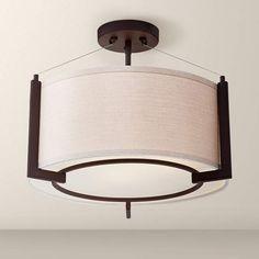"Stinson 16 1/4"" Wide Linen and Bronze Ceiling Light - #3X123 | Lamps Plus"