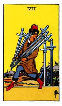 Swords Minor Arcana of the Raider-White tarot I - Spiritual Reading The all around symbol of the man and the swords is thievery. This is a card of betrayal and in many ways it symbolizes someone who is trying to get away with something. http://www.spiritual-reading.net/swords-minor-arcana-of-the-raider-white-tarot-i/  #tarot
