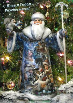 Роспись деревянного Деда-Мороза (липа), автор: Игуменова Вита