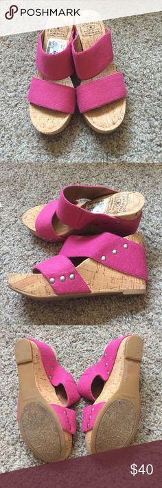Lucky Brand cork heels! NWT WEEKEND SALE❗️ Brand new, never worn! Lucky Brand cork wedges with pink straps. About a 2 heel. Super comfortable! Offers welcome and feel free to bundle! Free gifts added with any purchase! WEEKEND SALE❗️ Lucky Brand Shoes Wedges